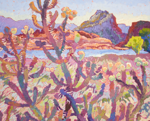impressionist painitng of cholla cactus at the Dells Willow Lake in Prescott Aizona with thick impasto brushstrokes