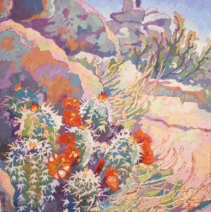 impressionist painitng of hedgehog cactus flowers at the Dells in Prescott Aizona with thick impasto brushstrokes