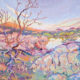 impressionist painitng of full moon rising at the Dells Willow Lake in Prescott Aizona with thick impasto brushstrokes