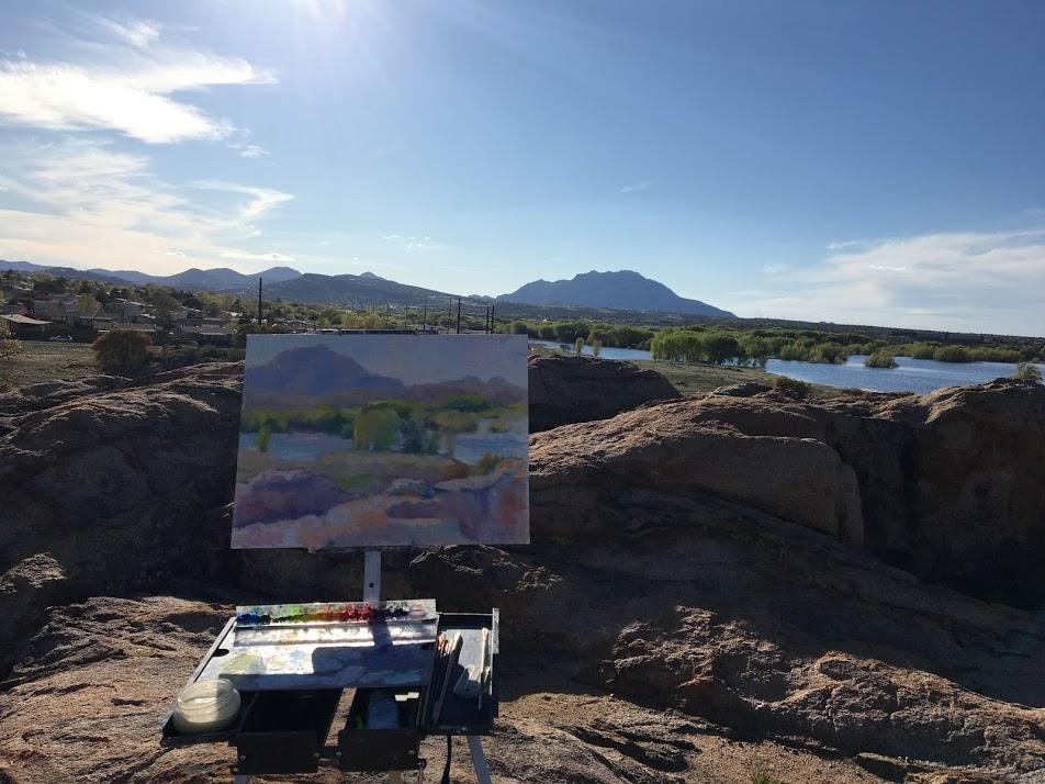 Plein Air painting at Willow Lake by Srishti Wilhelm