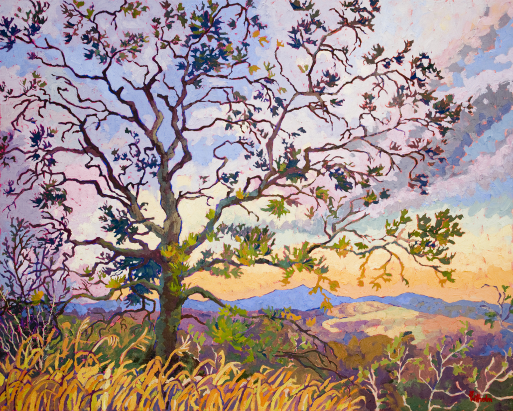 impressionistic painting of Prescott overview Pinion pine tree in the foreground