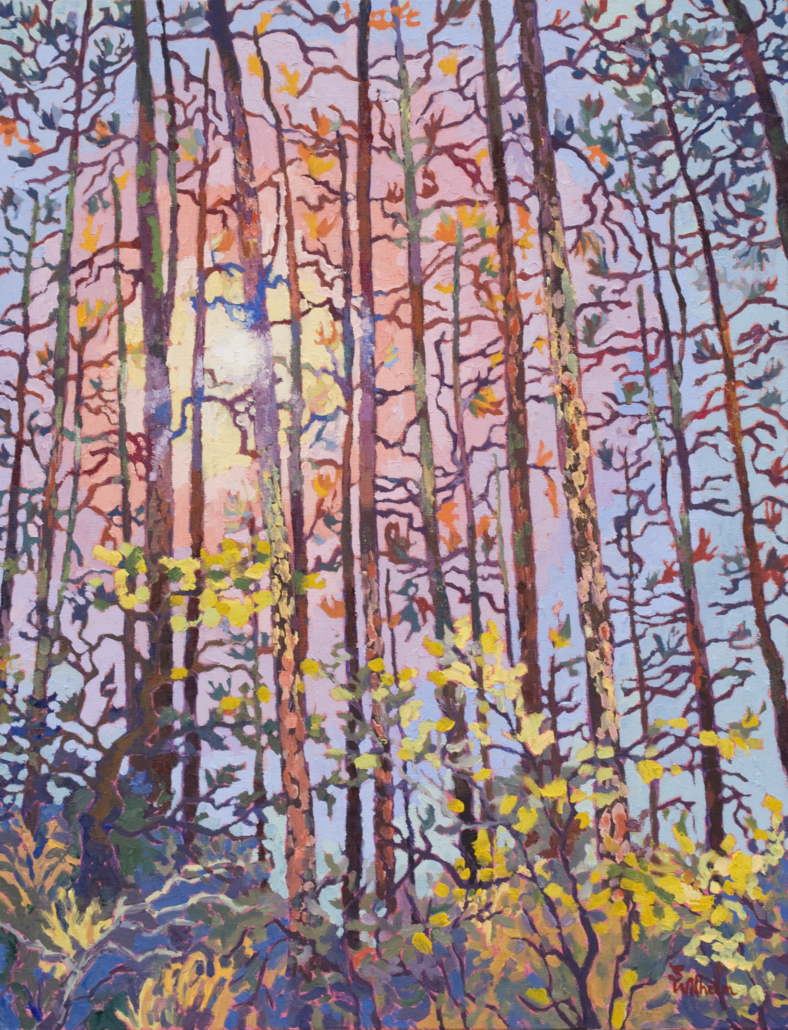 impressionistic painting of Ponderosa Groves in Prescott National Forest