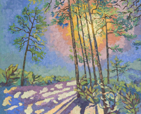 impressionistic painitng of Ponderosa Pines in the Prescott National Forest