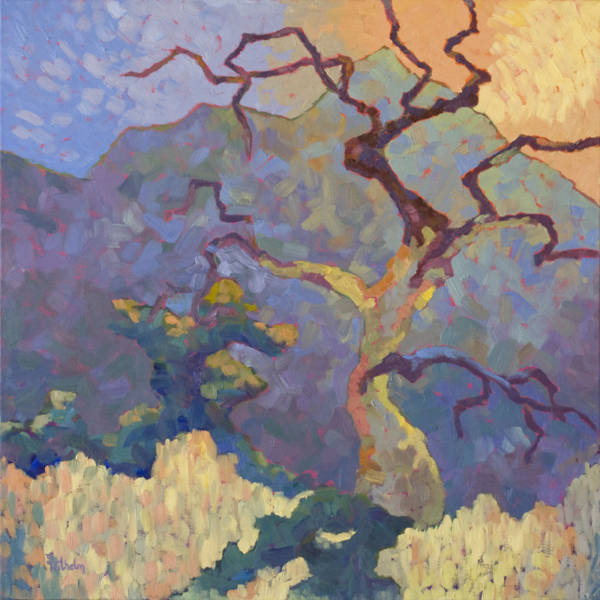 Impressionism thick brushstrokes painting of an old dead tree with Granite Mountain in the backdrop