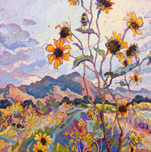 impressionist painitng of wild sunflowers in Prescott Aizona with thick impasto brushstrokes