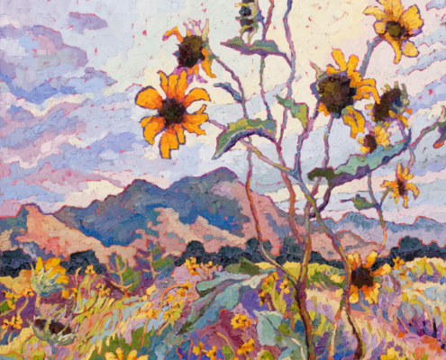 impressionist painitng of wild sunflowers in Prescott Aizona with thick impasto brushstrokes