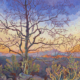 Impressionism thick brushstrokes painting of a young Sycamore tree in winter with Bill Williams Mountain in the backdrop