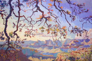 Impressionist painting with thick brushstrokes showing the many hues of Grand Canyon as the sun sets.