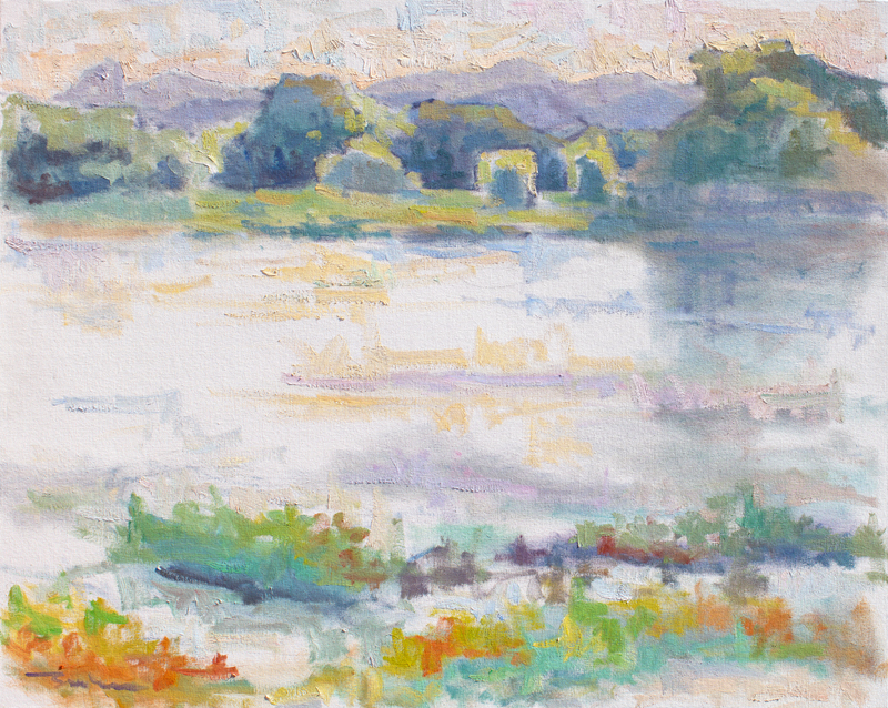 Impressionist painting with thick brushstrokes painted in the style of the French Impressionists. Plein Air painting of Willow Lake and Thumb Butte in Prescott, Arizona at dusk.