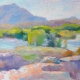 Impressionist painting with thick brushstrokes painted in the style of the French Impressionists. Plein Air painting of Willow Lake and the Dells in Prescott, Arizona in spring.