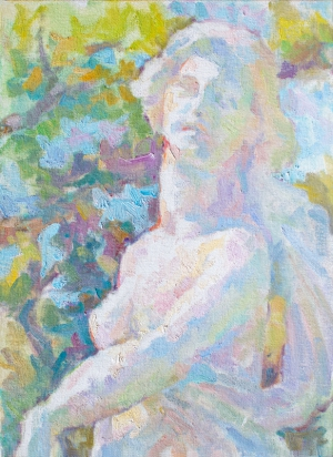 Impressionist painting with thick brushstrokes painted in the style of the French Impressionists. Painting of the statue of Autumn in St. Petersburg, Florida.