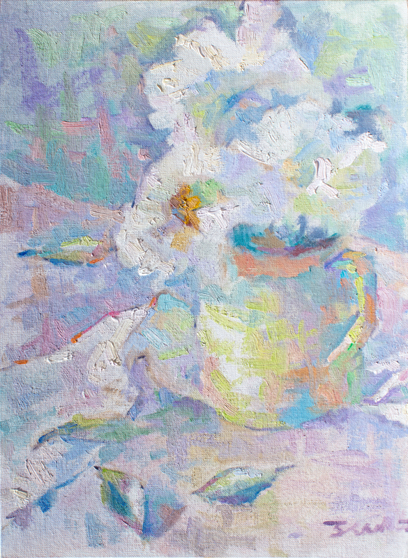 Impressionist painting with thick brushstrokes painted in the style of the French Impressionists. Still-life of White Daisies in a green teapot vase.