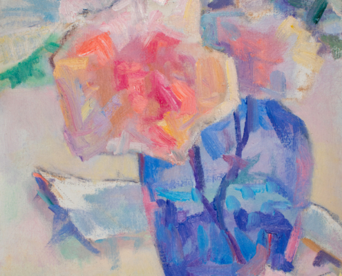 Painting from life of roses in a blue vase by Srishti Wilhelm