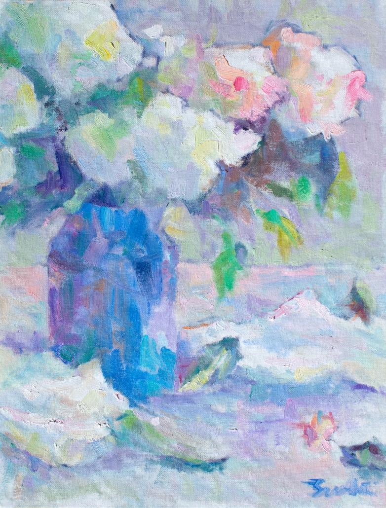 Impressionist painting with thick brushstrokes painted in the style of the French Impressionists. Still-life of white and pink Hydrangeas in a blue vase.