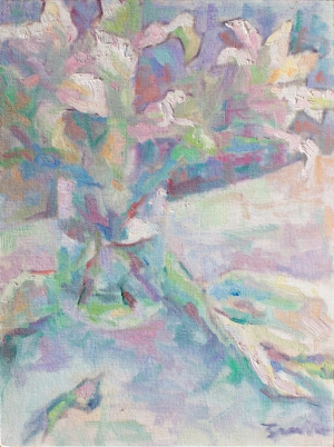 Impressionist painting with thick brushstrokes painted in the style of the French Impressionists. Still-life of Oriental lilies.