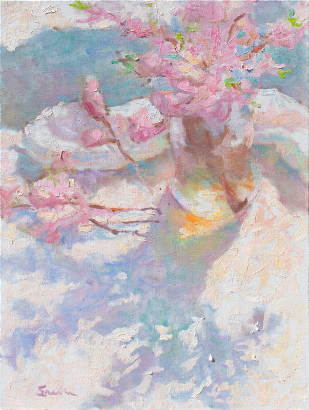 Impressionist painting with thick brushstrokes painted in the style of the French Impressionists. Still-life of Peach Blossoms with shadows
