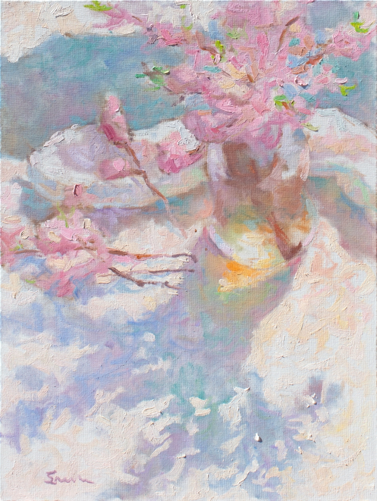 Impressionist painting with thick brushstrokes done in the style of the French Impressionists. Still-life of Peach Blossoms in a vase with shadows.
